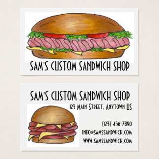 Sandwich Sandwiches Ham Cheese Hoagie Food Deli Business Card