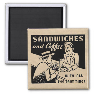 Sandwiches and Coffee at the Diner Square Magnet