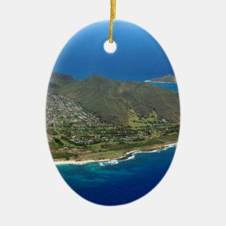 Sandy Beach Aerial Ceramic Ornament