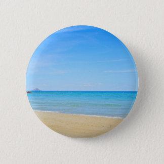 Sandy beach and blue Mediterranean sea 2 Inch Round Button