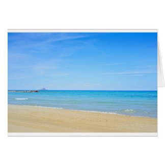 Sandy beach and blue Mediterranean sea Card