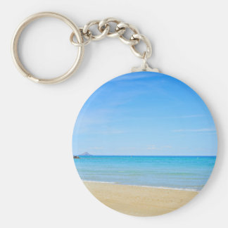 Sandy beach and blue Mediterranean sea Keychain