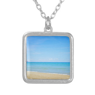 Sandy beach and blue Mediterranean sea Silver Plated Necklace