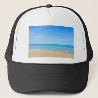 Sandy beach and blue Mediterranean sea Trucker Hat