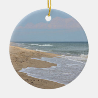 Sandy beach at the National Seashore on Cape Cod Round Ceramic Ornament