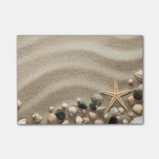 Sandy Beach Background With Shells And Starfish Post-it® Notes