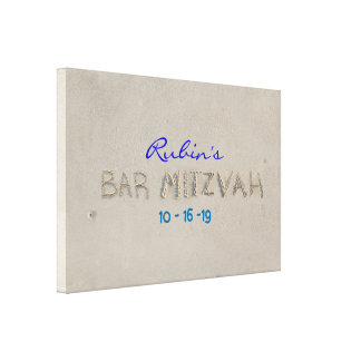 SANDY BEACH Bat Mitzvah Memory Sign-In Board Canvas Print