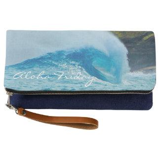 Sandy Beach Blue Wave Hawaiian Clutch
