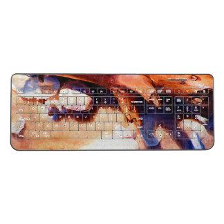 Sandy Beach Driftwood Shells Wireless Keyboard