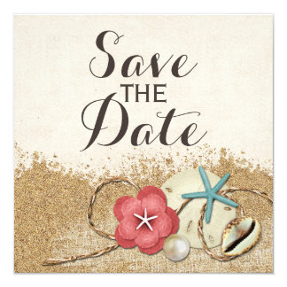 Sandy Beach Hibiscus & Shell Wedding Save The Date Card
