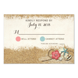 Sandy Beach Hibiscus & Shells Wedding Invite RSVP