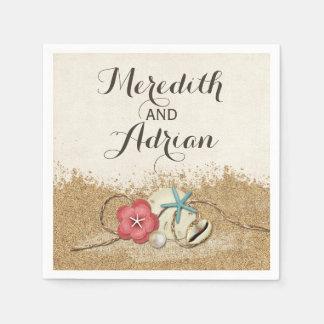 Sandy Beach Hibiscus & Shells Wedding Personalized Napkin