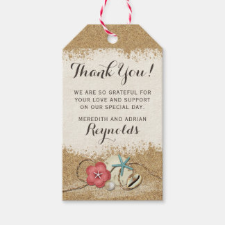 Sandy Beach Hibiscus & Shells Wedding Thank You Gift Tags
