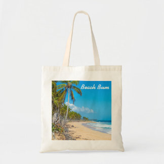 Sandy beach, palm trees, ocean waves & blue skies tote bag