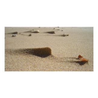 Sandy beach photo card template