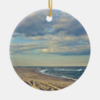 Sandy Beach Round Ceramic Ornament