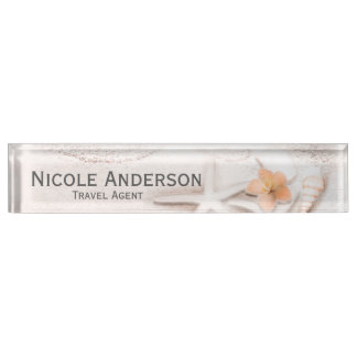 Sandy Beach Sea Shells Hibiscus Personalized Name Plate