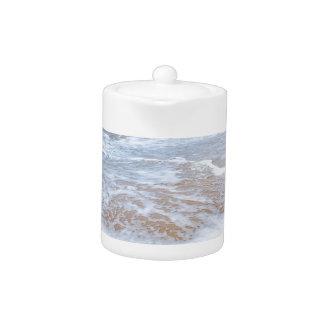 Sandy beach sea waves and mountain at coast