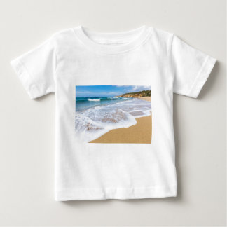 Sandy beach sea waves and mountain at coast baby T-Shirt