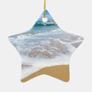 Sandy beach sea waves and mountain at coast ceramic ornament