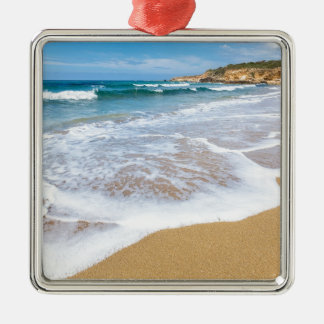 Sandy beach sea waves and mountain at coast Silver-Colored square ornament