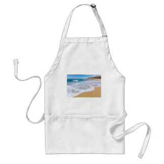 Sandy beach sea waves and mountain at coast standard apron