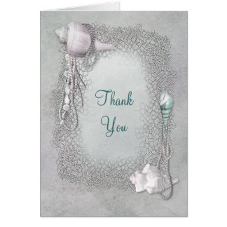Sandy Beach Seashells Pearls Thank You Cards