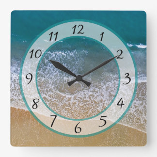 Sandy  Beach Shore Ocean Waves Clock