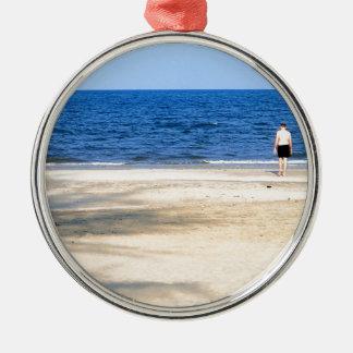 Sandy beach Silver-Colored round ornament