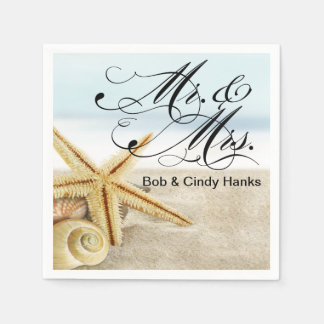 Sandy Beach Starfish Seashells Mr. & Mrs. Paper Napkins