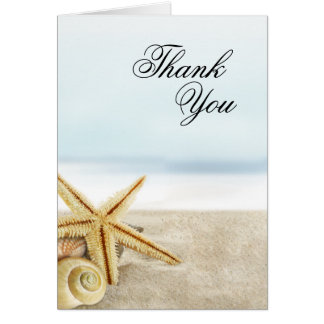 Sandy Beach Starfish Seashells Thank You Card