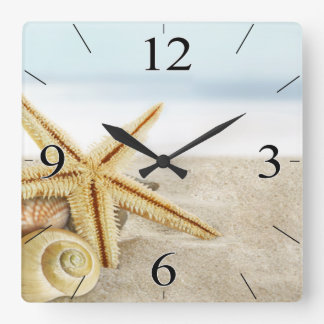 Sandy Beach Starfish Seashells Wallclocks
