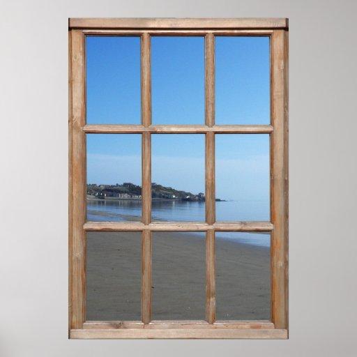 Sandy Beach View from a Window Print