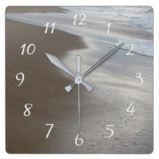Sandy Beach Waves Square Wall Clock