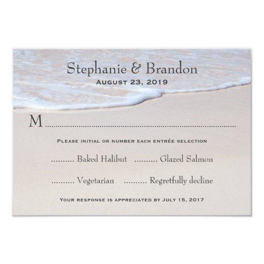 Sandy Beach Wedding RSVP Cards With Menu