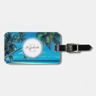 Sandy Beach with Tropical Palm Trees Monogram Luggage Tag