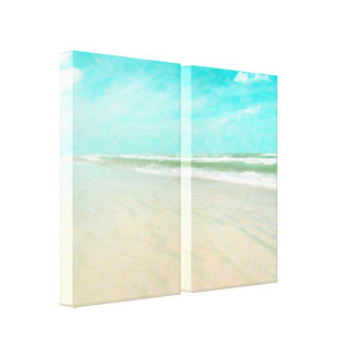Sandy Beach with Turquoise Sky Canvas Print