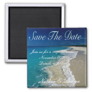 Sandy Beaches Save the Date Square Magnet