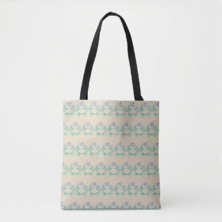 Sandy Blue Crab Pattern Tote Bag