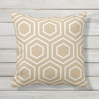 Sandy Brown Geometric Pattern Outdoor Pillows