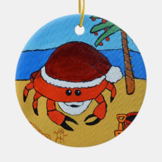 Sandy Claws by Joel Anderson Round Ceramic Ornament