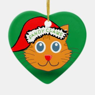 Sandy Claws Ceramic Heart Ornament