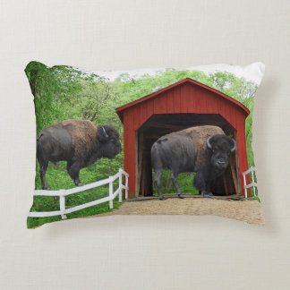 Sandy Creek Covered Bridge Creative Photography Decorative Pillow