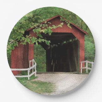 Sandy Creek Covered Bridge In Water Color Paper Plate