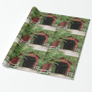 Sandy Creek Covered Bridge Water Color Wrapping Paper
