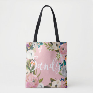 Sandy Custom Brushed Floral Wedding Party Pink Tote Bag