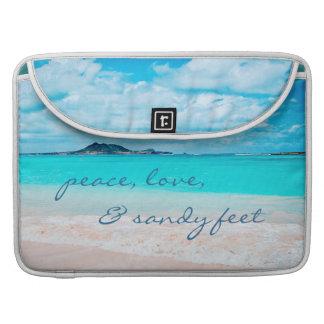 """Sandy feet"" aqua beach photo Macbook Pro sleeve"