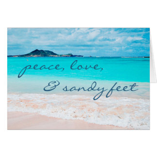 """Sandy feet"" blue water beach photo blank inside Card"