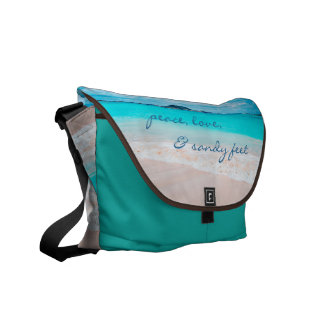 """Sandy Feet"" Quote Aqua Ocean & Sandy Beach Photo Courier Bag"