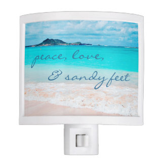 """Sandy Feet"" Quote Aqua Ocean & Sandy Beach Photo Nite Lights"